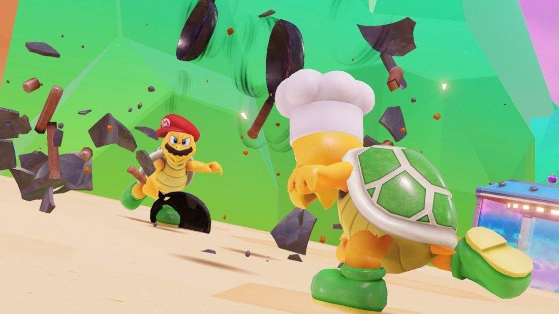 Super Mario Odyssey con su tortuga