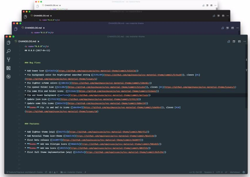Material Theme for vs code