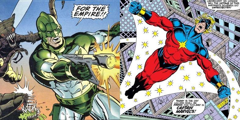 traje de Captain Marvel es color verde por Mar-Vell Kree