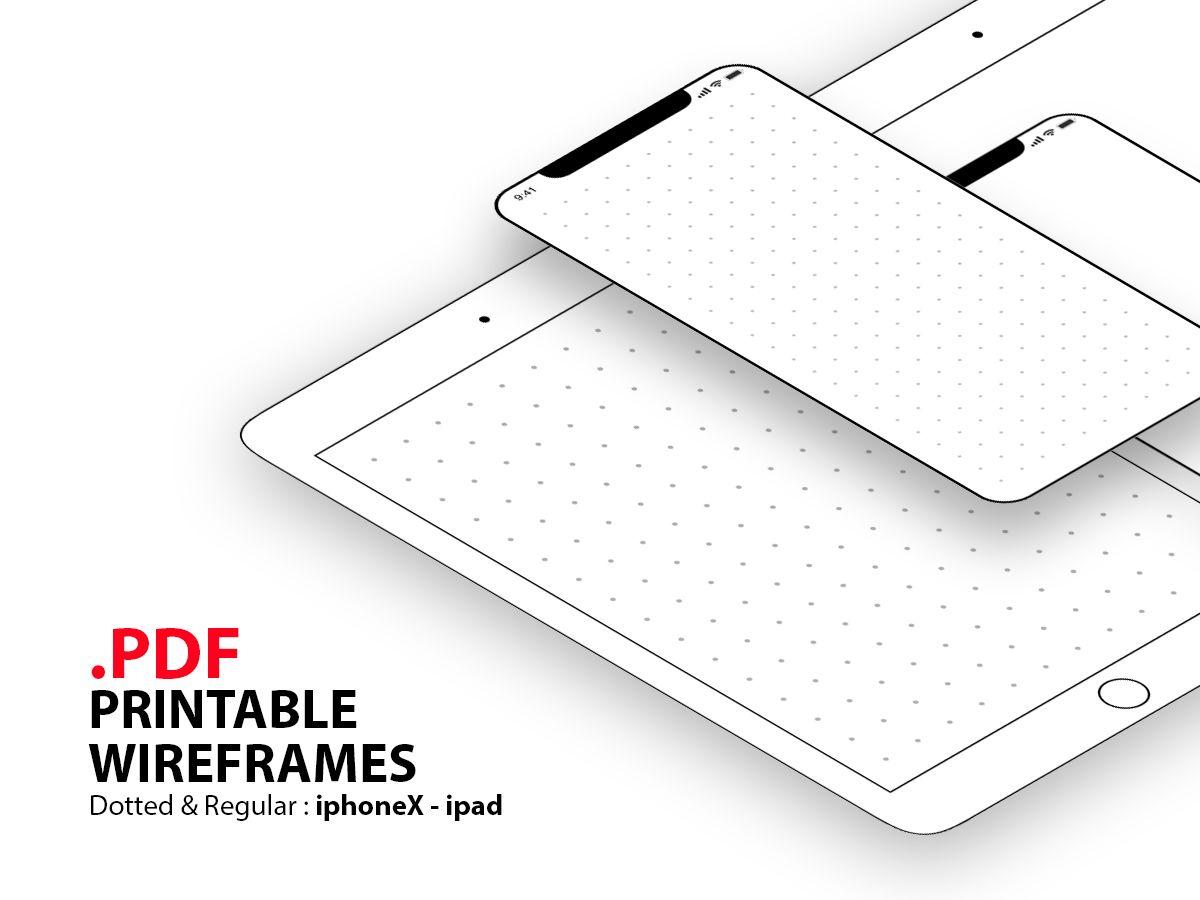 Papel A4 de iPhone X y iPad para wireframes interfas de usuario