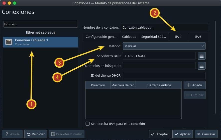 Configurar las conexiones de red kde plasma, IPv4, serivor DNS