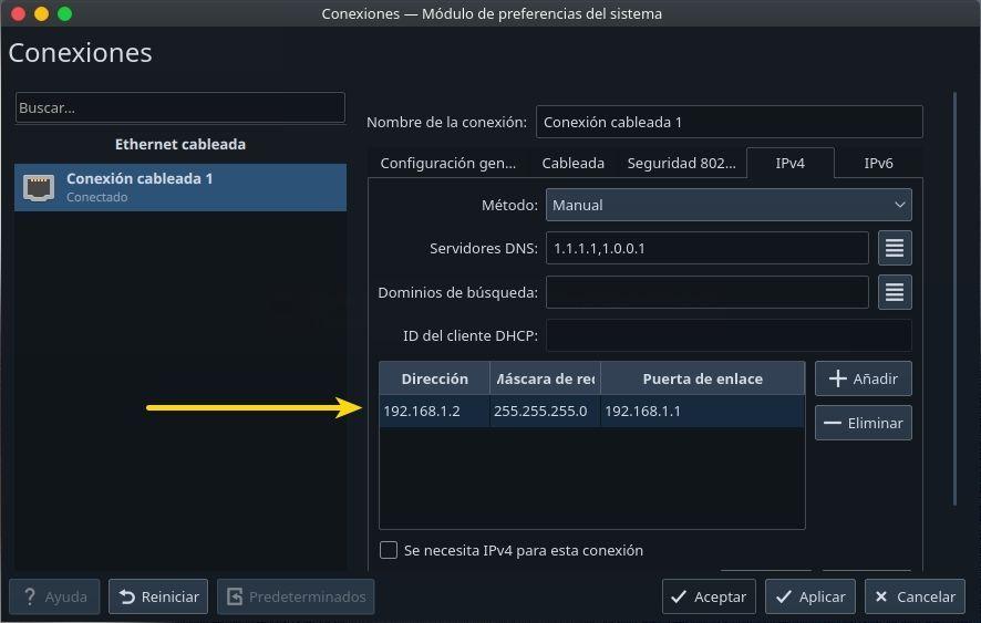 configurar IP estático en kde plasma