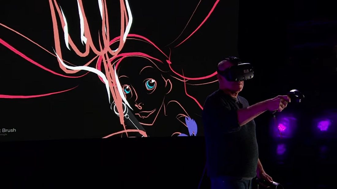Glen Keane animador de Disney dibuja a Ariel la sirenita en vivo utilizando la realidad virtual