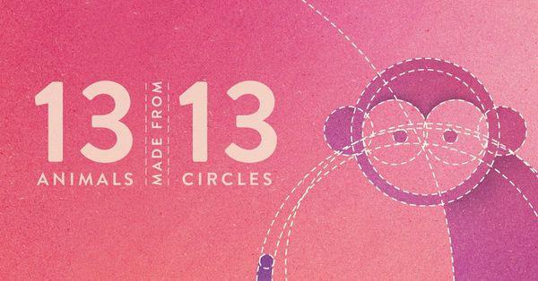 Impresionantes ilustraciones de animales realizados con 13 círculos